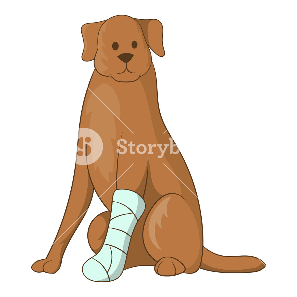 Bandage dog leg cartoon clipart vector royalty free Dog with an injured leg icon. Cartoon illustration of dog with an ... vector royalty free