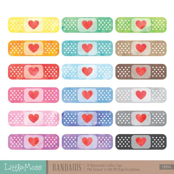 Bandaids clipart clip black and white download Watercolor Bandaids Clipart, Bandage Clipart, Plaster Clipart, Band ... clip black and white download