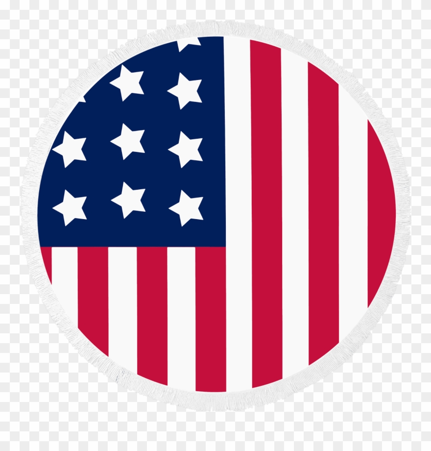 Bandera de estados unidos clipart transparent stock Round Beach Towel American Flag Patriot By Mimosa Inc - Bandera De ... transparent stock