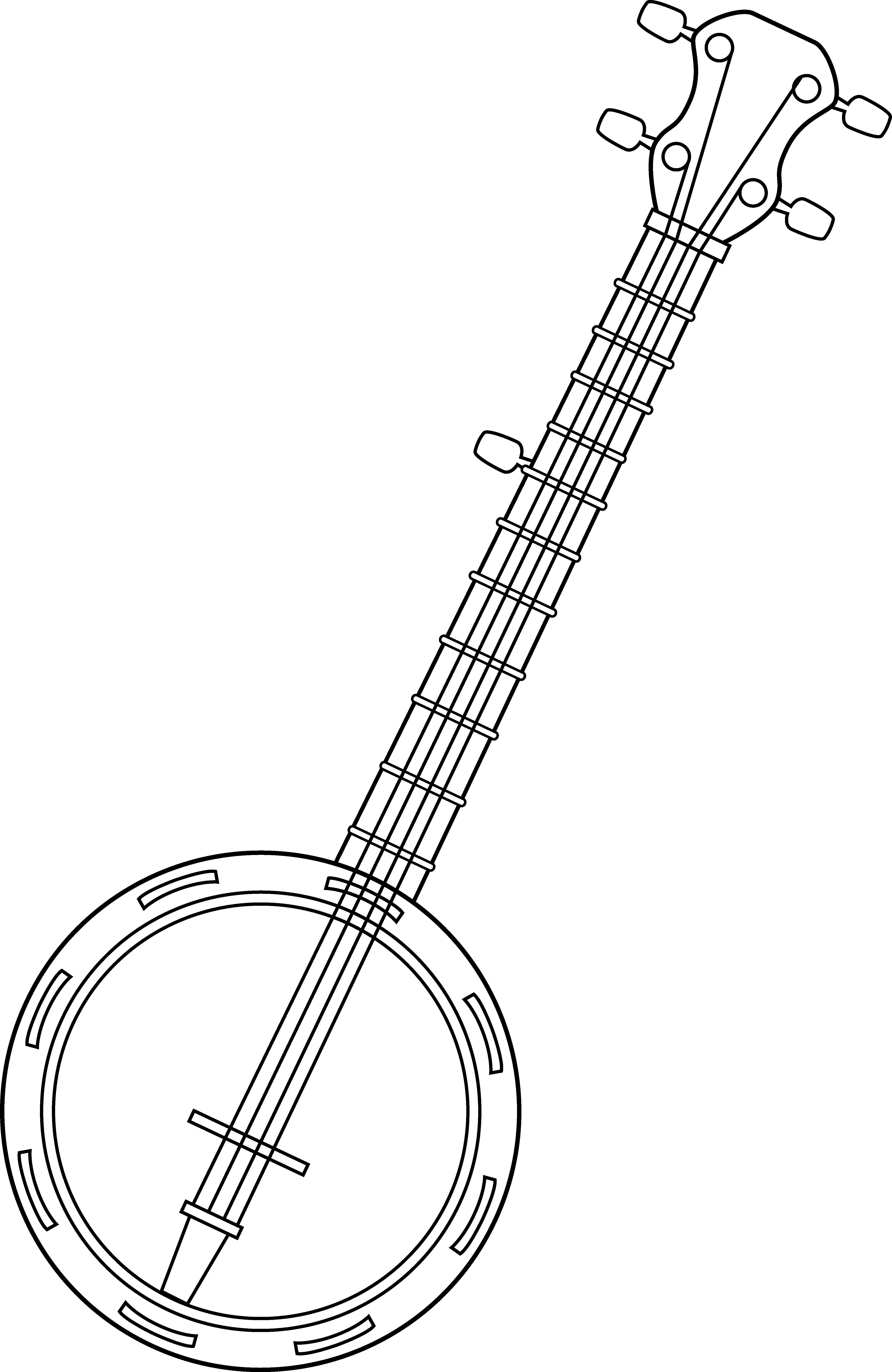 Banjo pictures clip art jpg free download Banjo Colorable Line Art - Free Clip Art jpg free download