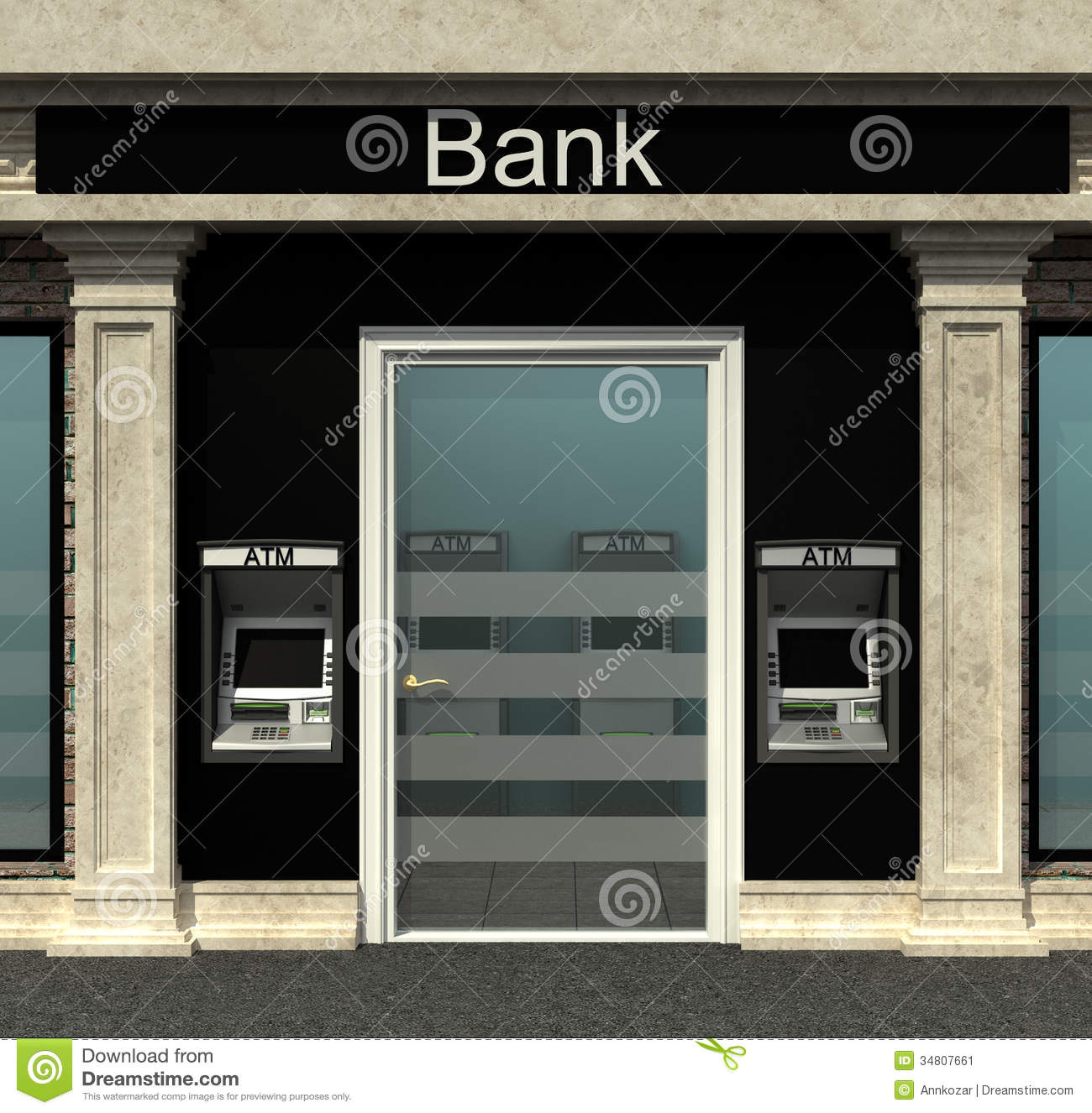 Bank branch clipart png black and white download Bank Branch With Automated Teller Machine Stock Image - Image ... png black and white download