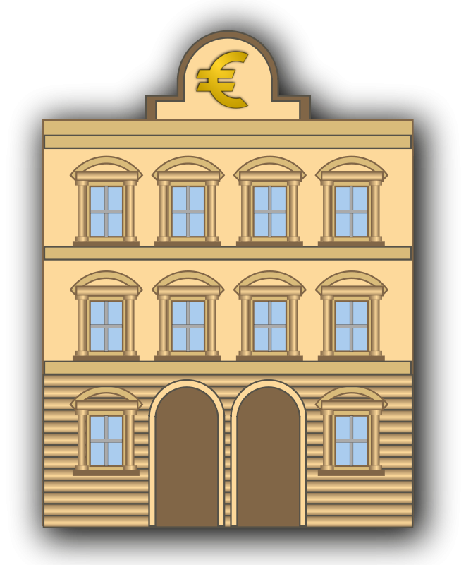 Bank building clipart clip black and white Free Clipart: Bank building with euro sign | ernes clip black and white