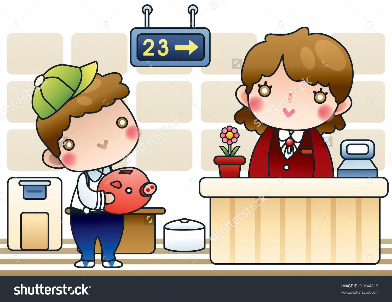 Bank clerk clipart graphic freeuse stock Cute Happy Boy Piggybank Smilling Bank Stock Vector 91644815 ... graphic freeuse stock