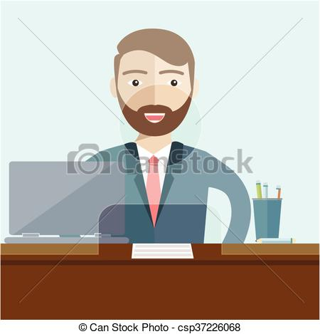 Bank clerk clipart jpg royalty free Clip Art Vector of Man clerk in a bank office. Flat vector ... jpg royalty free