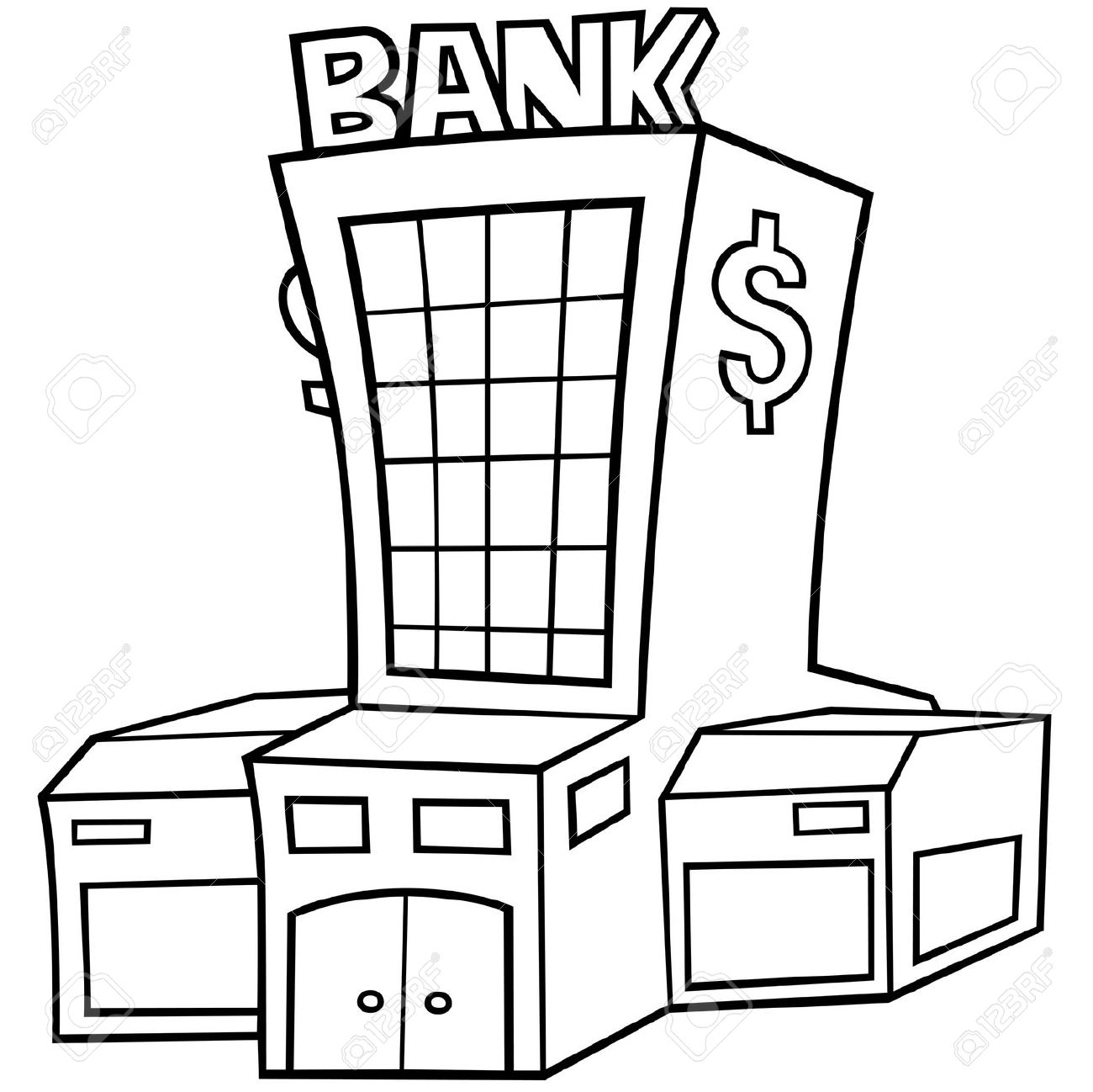 Black and white cliparts. Bank clipart