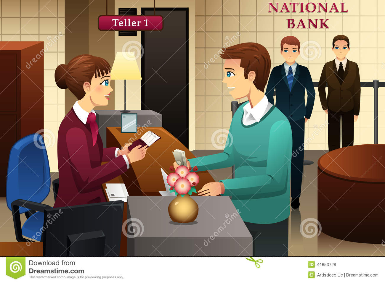 Bank customer clipart image black and white Bank Teller Servicing A Customer In The Bank Stock Vector - Image ... image black and white