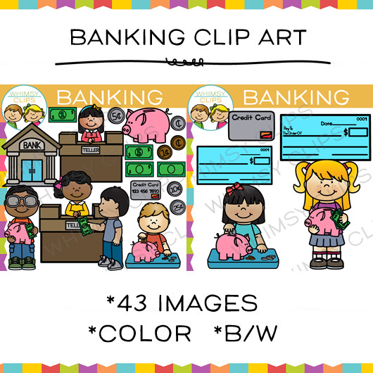 Bank customer clipart clip freeuse Kids Banking Clip Art , Images & Illustrations | Whimsy Clips clip freeuse