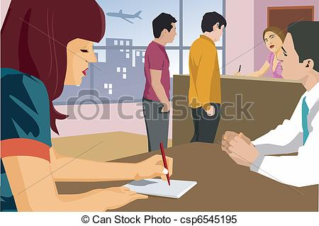Bank customer clipart clip library download Stock Illustrations of People standing at bank csp6545195 - Search ... clip library download