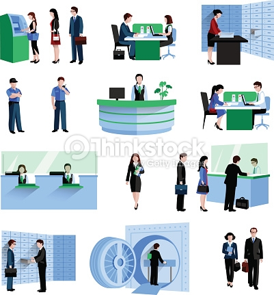 Bank customer service clipart clip art royalty free stock Bank People Set Vector Art | Thinkstock clip art royalty free stock
