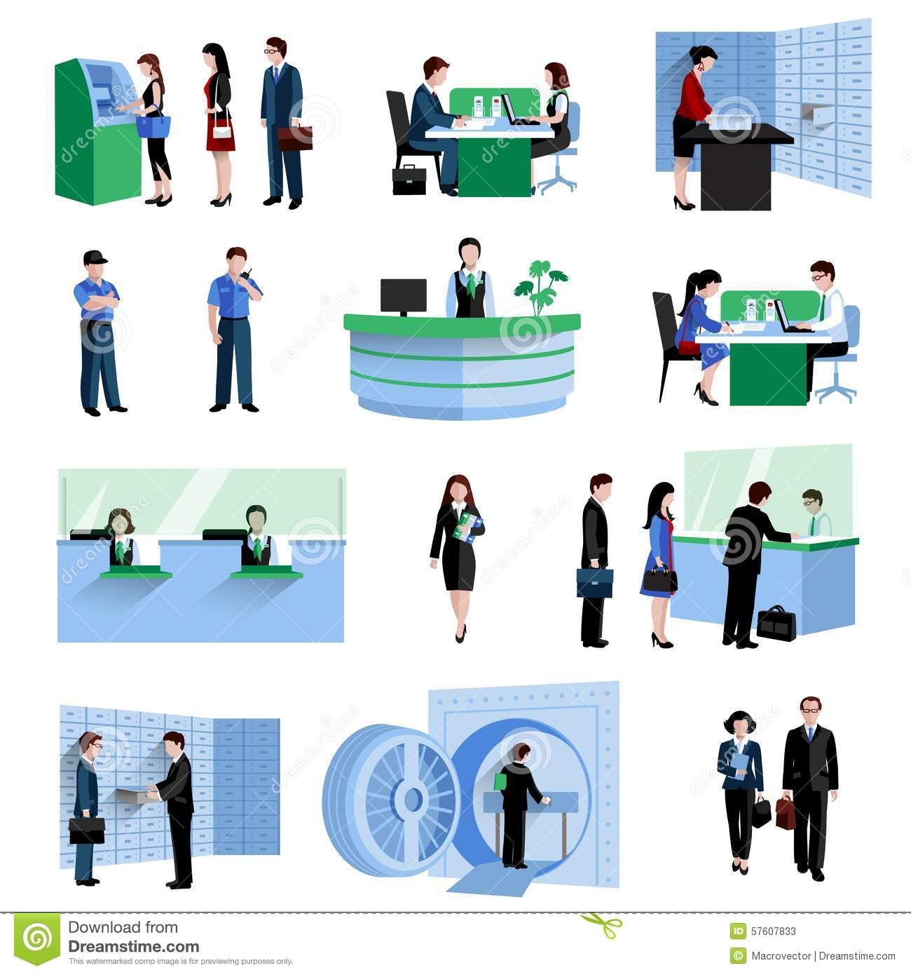 Bank customer service clipart clip library Bank People Set Stock Vector - Image: 57607833 clip library