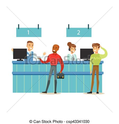 Bank customer service clipart clipart transparent stock Vectors of Client Service Counter With Bank Visitors And Workers ... clipart transparent stock