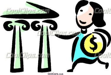 Woman making a in. Bank deposit clipart