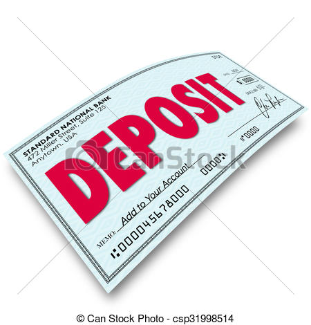 Bank deposit clipart jpg black and white library Clipart of Deposit Word Check Putting Money Into Your Bank Account ... jpg black and white library