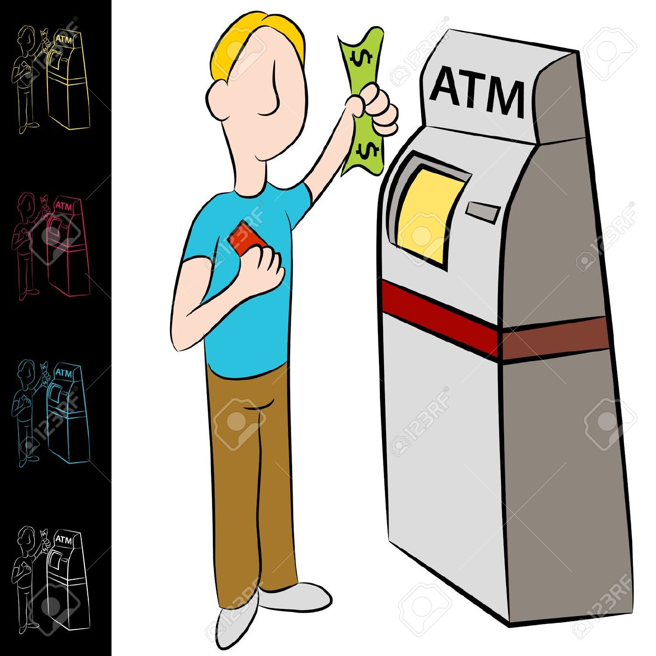 Bank deposit clipart clip art black and white An Image Of A Man Using A Bank Atm Machine. Royalty Free Cliparts ... clip art black and white