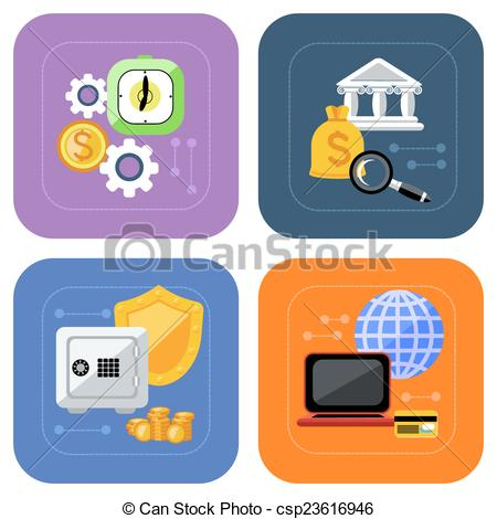 Bank deposit clipart. Eps vector of banking