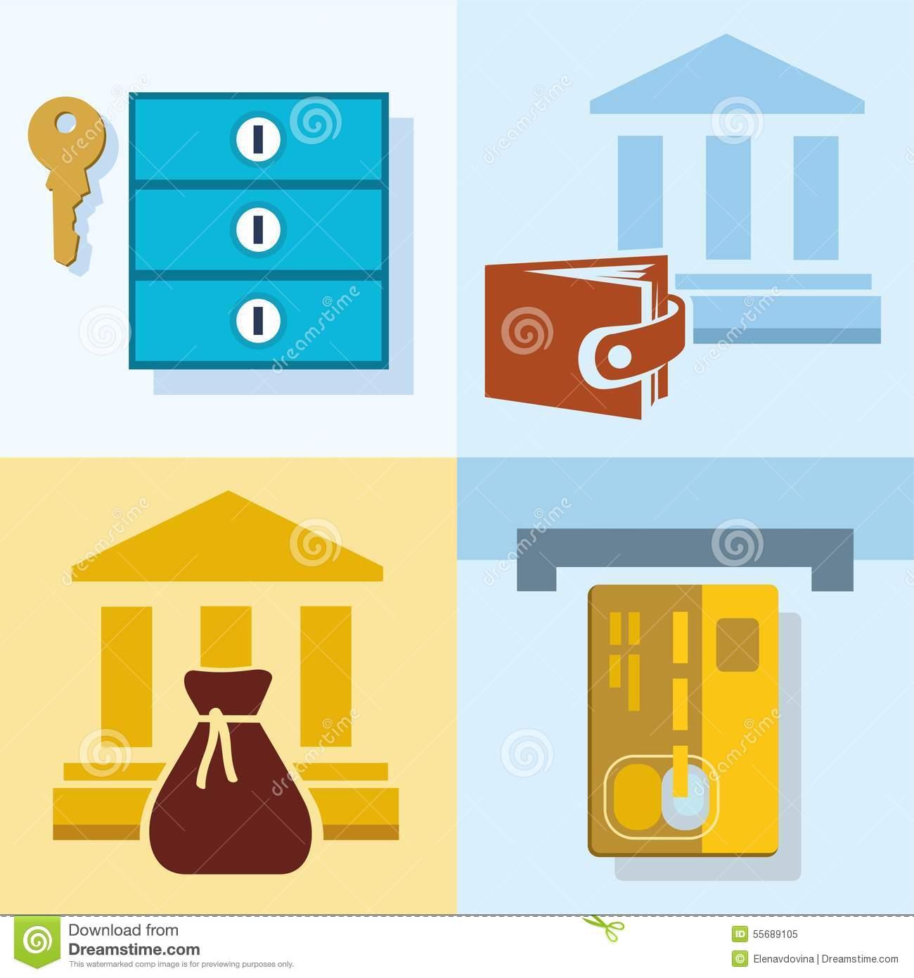 Bank deposit clipart clip art royalty free Bank, Finance, Savings, Credit Cards, Safe Deposit Boxes, Colored ... clip art royalty free