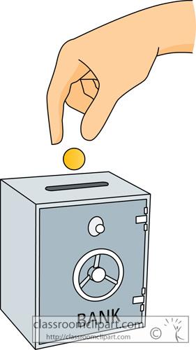 Kid money in classroom. Bank deposit clipart