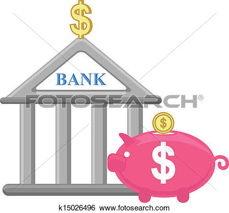 Bank icon clipart vector library library Clip Art of Piggy Bank and Bank Icon Vector k15026496 - Search ... vector library library