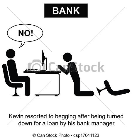 Bank loan clipart image library stock Vector Illustration of Bank Loan - Kevin resorted to begging for a ... image library stock
