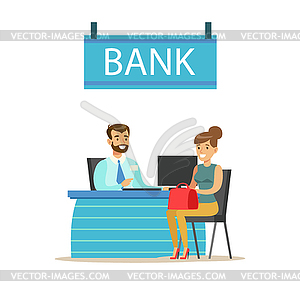 Bank manager clipart transparent stock Bank Manager At His Desk And Client. Bank Service, - vector clipart transparent stock