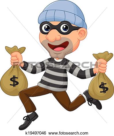 Bank robber clipart picture black and white download Clipart of Burglar or thief running with sack of money k18896444 ... picture black and white download