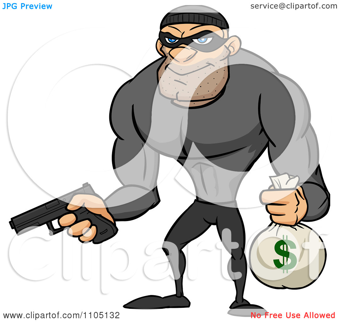 Bank robber clipart vector library stock Clipart Buff Bank Robber Holding A Money Bag And Pistol - Royalty ... vector library stock