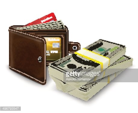 Bank roll clipart png library download Leather Wallet With Credit Card and Bank Roll premium clipart ... png library download
