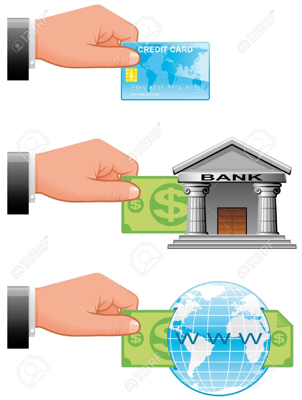 Bank transfer clipart jpg free Icons Of Payment Ways For Shopping Online Stock Photo, Picture And ... jpg free