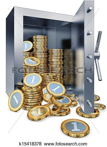 Bank vault clipart jpg black and white download Stock Illustration of bank vault k15418378 - Search EPS Clip Art ... jpg black and white download