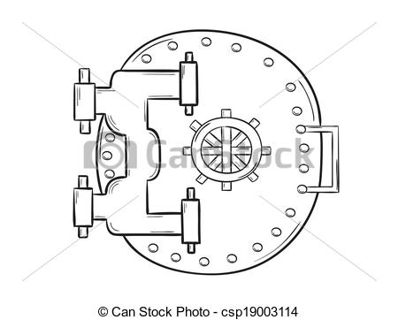 Bank vault door clipart png stock Vector Clip Art of Banking door - Closed circular steel bank vault ... png stock