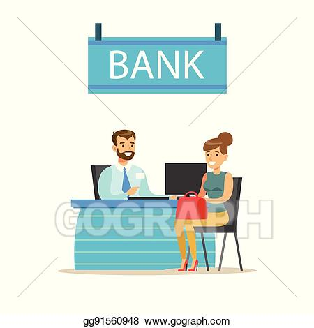 Banker clipart illustration picture library library EPS Vector - Bank manager at his desk and the client. bank service ... picture library library