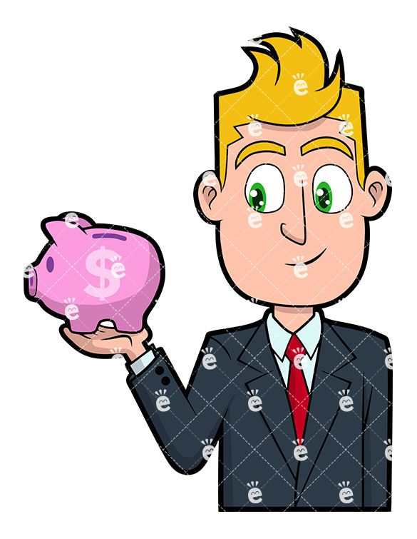 Banker clipart illustration graphic freeuse download A Businessman Holding A Tiny Piggy Bank Vector Clipart ... graphic freeuse download