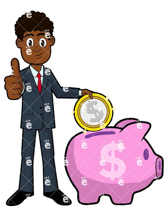 Banker clipart illustration png library A Black Businessman Putting A Coin In A Piggy Bank | Vision board ... png library