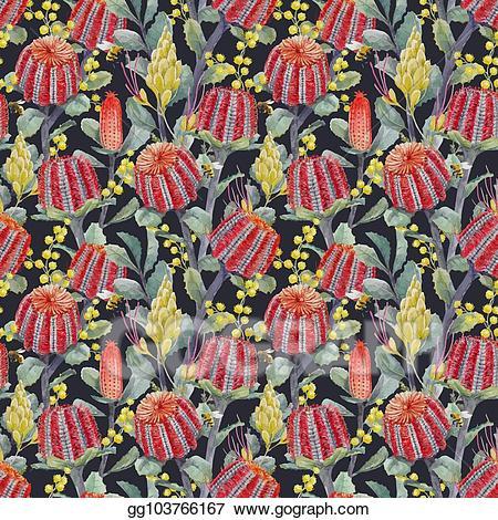 Banksia clipart image transparent Vector Art - Watercolor australian banksia vector pattern. Clipart ... image transparent