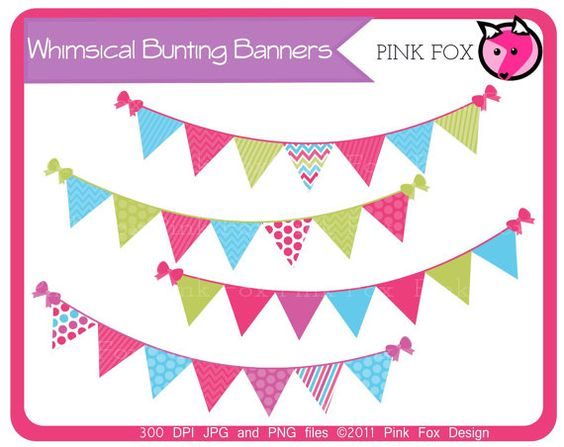 Banner flag clipart jpg graphic black and white stock INSTANT DOWNLOAD, bunting banner clipart or flag clipart for ... graphic black and white stock