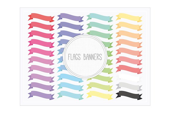 Banner flag clipart jpg image royalty free library Clip Art-Flags Banners ~ Objects on Creative Market image royalty free library