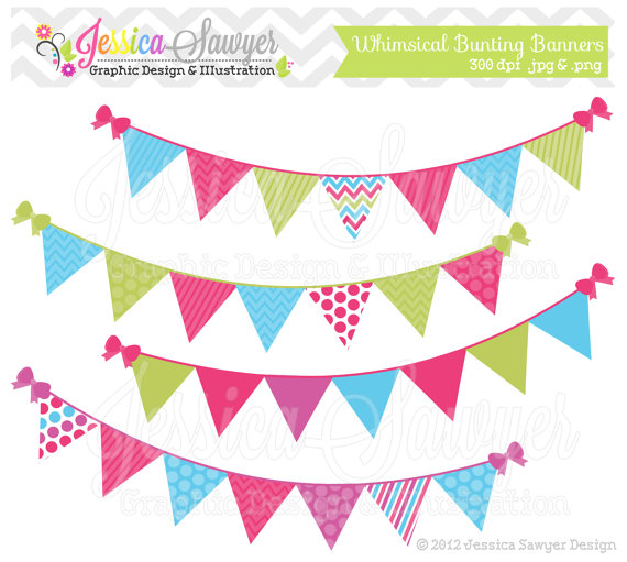 Banner flag clipart jpg image free library INSTANT DOWNLOAD, bunting banner clipart or flag clipart for ... image free library