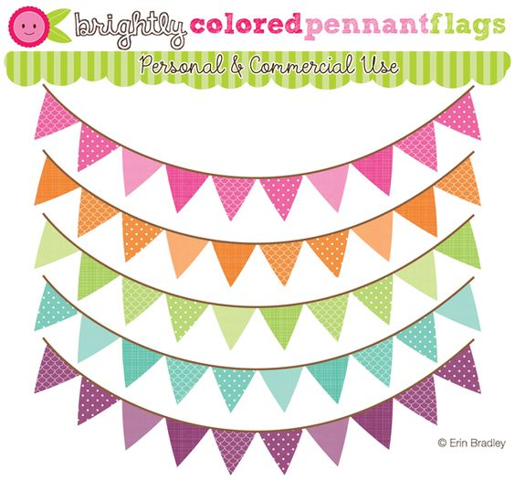 Banner flag clipart jpg vector black and white download Brightly Colored Pennant Banner Flags Clipart | Graphic Design ... vector black and white download
