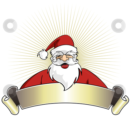 Banner with santa clipart png black and white stock Christmas series: Happy Santa Claus with blank banner stock vector png black and white stock