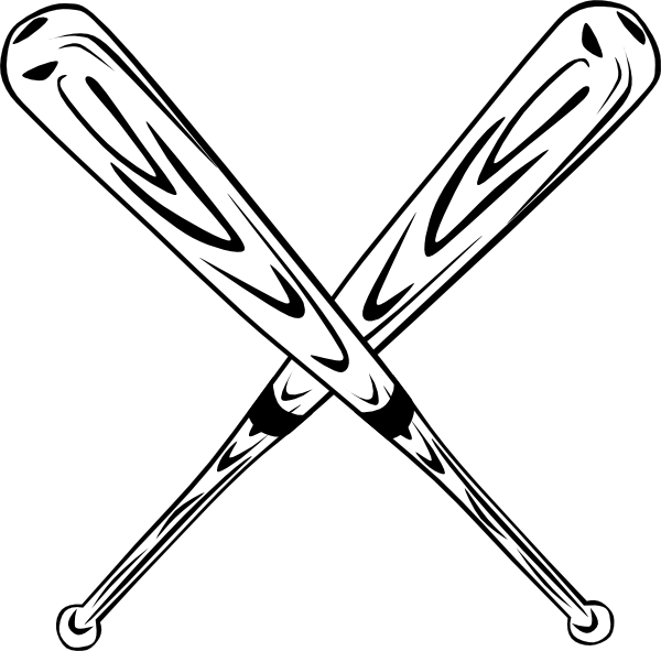 Baseball related clipart. Softball bats crossed kid
