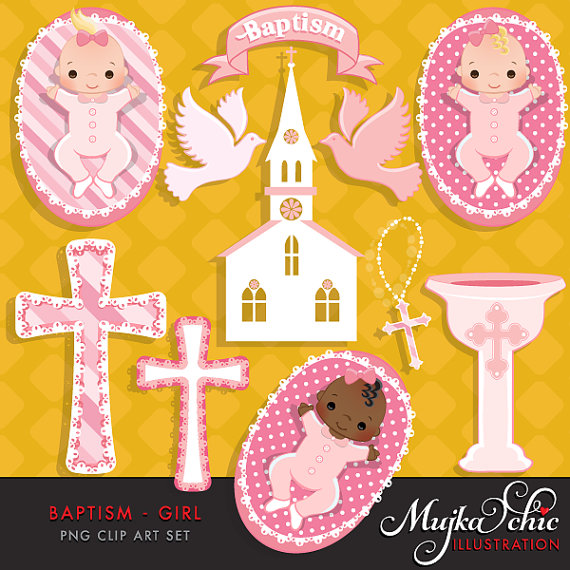 Baptism clipart for baby girl jpg freeuse download Baptism Clipart Baby Girl with cute babies, church, dove, rosary ... jpg freeuse download