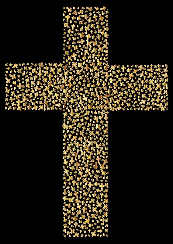 Clipart - Gold Cross Fractal clip art