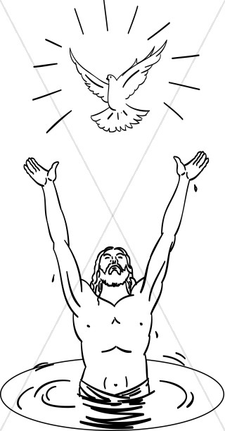 Jesus baptism black & white clipart clip stock Baptism of the Lord Images, Baptism of Jesus Clipart - Sharefaith clip stock