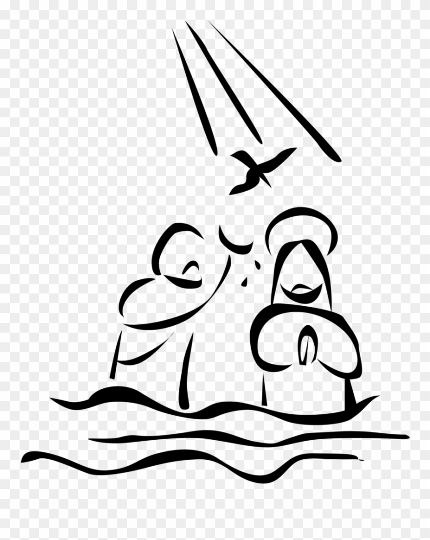 Jesus baptism black & white clipart clip art black and white library Baptism Of Jesus Drawing Clipart (#1159859) - PinClipart clip art black and white library