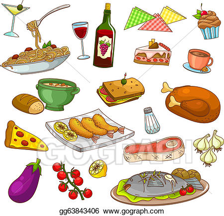 Bar and grill food and drinks clipart clipart royalty free stock Vector Art - Restaurant food. Clipart Drawing gg63843406 - GoGraph clipart royalty free stock