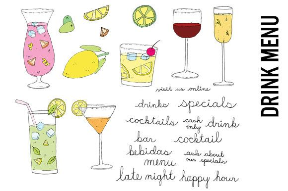 Bar menu clipart clipart transparent stock Tropical Drink Menu Doodles Clipart by Pepper on Creative Market ... clipart transparent stock