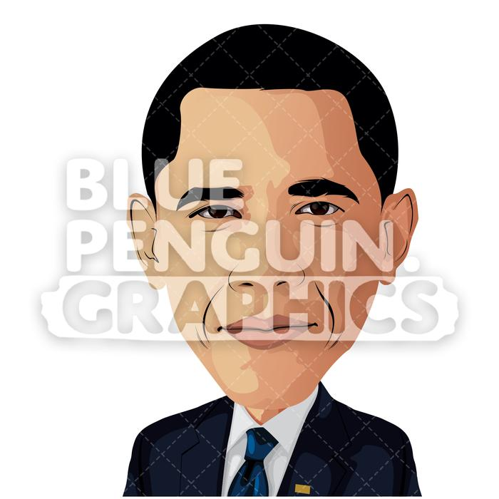 Obama clipart image library download American President Barack Obama Vector Cartoon Clipart Illustration image library download