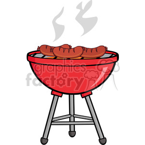 Grill pictures clipart clip art black and white Grilled Sausages On Barbecue clipart. Royalty-free clipart # 386548 clip art black and white
