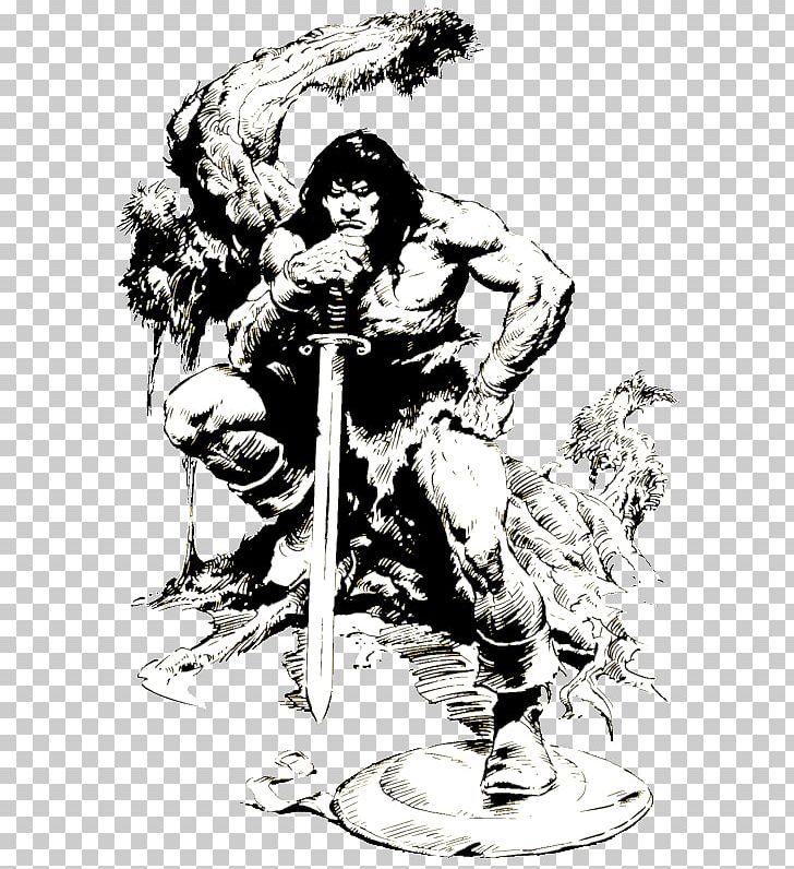 Barbarian black and white clipart