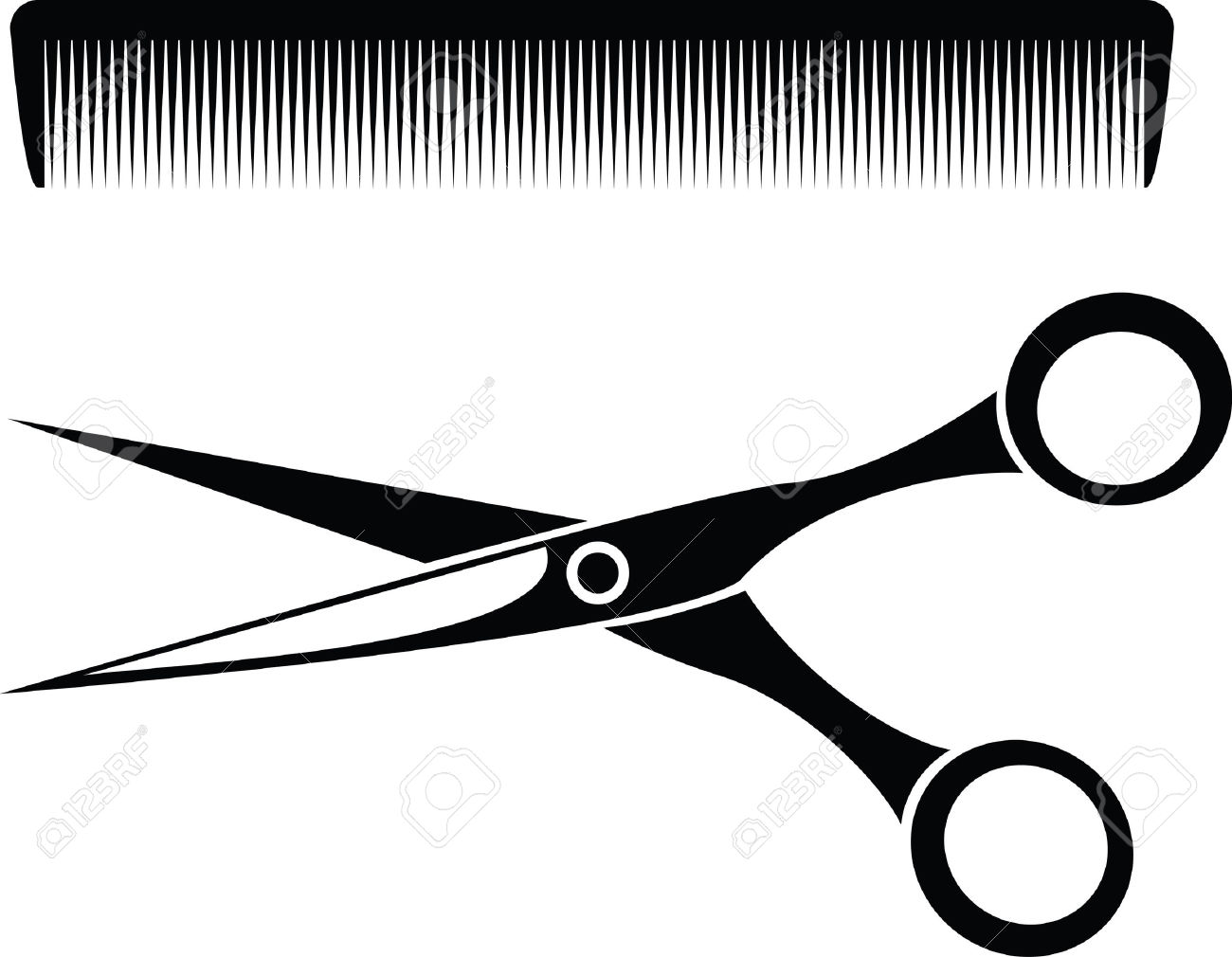 Barber scissors and comb clipart png black and white Hair Scissors And Comb Clipart   Free download best Hair Scissors ... png black and white